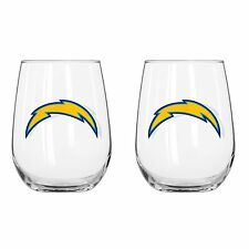 San Diego Chargers 16 oz.Curved Beverage Stemless Wine Glass 2 pack set.