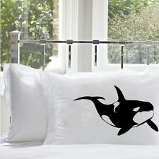 Two (2 for 20) Black Killer Whale Orca big dolphin Nautical Pillow case cover