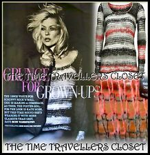 Kate Moss Topshop Red Black Grey Grunge Punk Striped Crochet Knitted Jumper UK 8