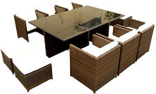 New 13 Piece Outdoor Wicker PE Rattan Glasstop Patio Dining Table Set w/ Chairs