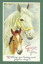 1950'S BAMFORTH PC BY TAYLOR - SWEET HORSE AND FOAL - HAPPY AND JOYOUS DAYS!