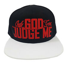ONLY GOD CAN JUDGE ME BLACK/WHITE (FLOCK IN RED) Snapback Cap
