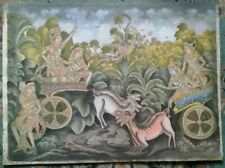 "T JOK-BALI FOLKLORE ART. SIGNED. ORIGINAL ACRYLIC CANVAS/BOARD 1972. 24""x17.75"""