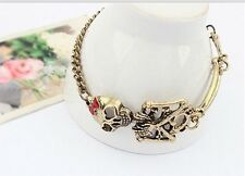 Alloy Cool Rock Gothic Punk Double Skeleton Skull Bangle Charm Bracelet EY300