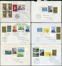 ICELAND 1975-81 MULTI FRANKINGS 28 stamps on 6 ENVELOPES to SWEDEN