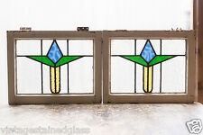 Pair of Antique Stained Glass Windows Three Color Art Deco Tulip          (2978)