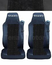 2 x VOLVO FH12 FH16 FL FM Seat Covers Tailored Logo Truck Black / Black DE LUX