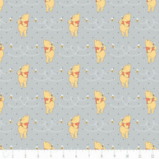 """Camelot Winnie The Pooh Honeybee Light Grey 100% cotton 43"""" fabric by the yard"""
