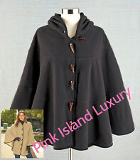 Ladies BUTTON FLEECE BATWING HOODED CAPE PONCHO SWEATER Long Sleeve Top Warm