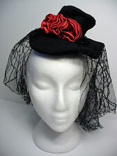 Black Mini top Hat with roses on Headband Netting Ghotic Burlesque Halloween New