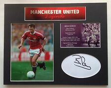 Bryan Robson Signed Photo Mount Display Manchester United Autograph