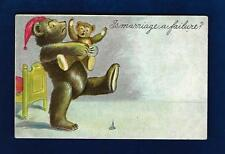 "#507 Teddy Bear & Baby "" Is Marriage A Failure"", Embossed 1900s Unused"