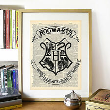 Harry Potter, Hogwarts Crest Logo Mock Dictionary Page Art Print Poster.