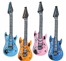 "12 Inflatable Guitars Rock Roll 24"" Party Favor Rock Star Bulk Wholesale Guitar"