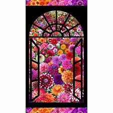 Flower Garden DIGITALLY PRINTED Window Panel 24 by 44 inches cotton fabric