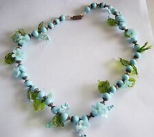 Beautiful Vintage 50's Murano Aqua Blue Glass Flower LEI Necklace