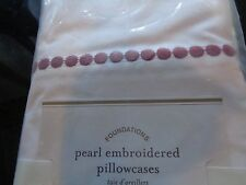 2 Pottery Barn Pearl dot embroidered standard pillowcases cranberry New