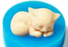 SILICONE 3D MOLD Candy Cake Chocolate Soap Ice Making DIY Tiny Sleeping Kitten