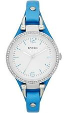 Fossil Watch * ES3470 Georgia Silver Dial Slim Blue Leather Ivanandsophia IVN