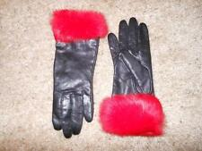 WILSON'S Genuine Black Leather Red Fur Gloves Lined Mittens Warm Winter Size S