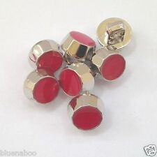 5 x chunky dress shirt buttons PINK with silver trim shank on back 10mm
