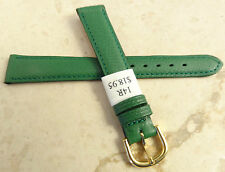 New Made in France Green Genuine Leather 14mm Watch Band Gold Tone Buckle $18.95