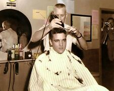 "ELVIS PRESLEY KING OF ROCK & ROLL ARMY HAIRCUT 8x10"" HAND COLOR TINTED PHOTO"