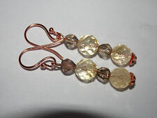 GENUINE FACETED CITRINE AND SMOKY QUARTZ ROSE GOLD EARRINGS