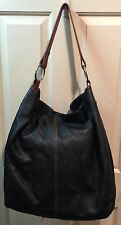 DANIER Extra Large Black Soft Leather Shoulder Hobo Tote Purse Bucket Bag - NICE