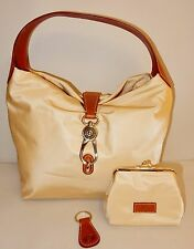 New Dooney & Bourke Nylon Hobo with Logo Lock & Accessories in Bone