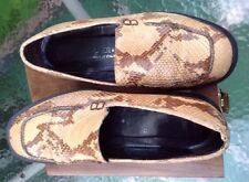 DONALD J PLINER Snake Skin Flat Loafers Womens Sz 7  N Shoe Italy Beige Brown
