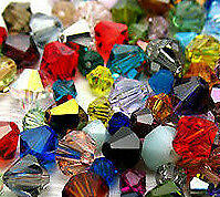 MIXED LOT 50 SWAROVSKI CRYSTAL 4MM BICONE BEADS