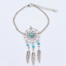 1Pc Alloy Feather Tassel Pendant Beads Dreamcatcher Chain Link Bangle Bracelet