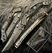 SFK CUTLERY TANTO HAND MADE DAMASCUS POCKET FOLDING KNIFE | LINER LOCK | FO-1803