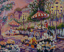 Brian Simons Acrylic on Canvas Bright Summer Market Landscape Painting Canadian