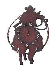 Western Horloge Murale Cowboy Décoder Les Métaux Montre Cheval Lasso Fer À