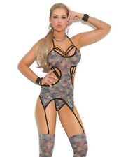 Womens Camouflage Lingerie Bodysuit Camisette Set Camo Panty Stockings Army Sexy