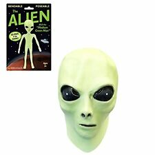 Glow in the Dark Alien Face Mask with Alien Bendable Toy  One Size
