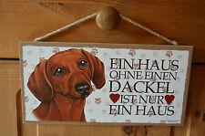 Türschild Tierschild Schild Tafel Holzschild Deko Bild Wandbild ♥ Dackel Hund