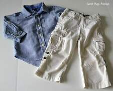 Boys Sz 2y BABY GAP Blue Chambray Dress Shirt & Khaki Cargo Roll Up Pants Outfit
