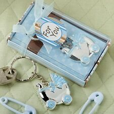 30 Blue Baby Carriage Design Key Chains Baby Shower Favors