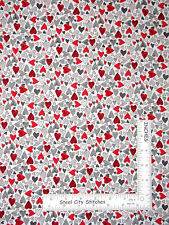 Valentine Heart Toss Romance Love Gray White Red Cotton Fabric Stof #503 ~ YARD