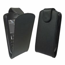 Nokia Asha 200 - 201 / Stylish Black Leather Flip Case / NEW