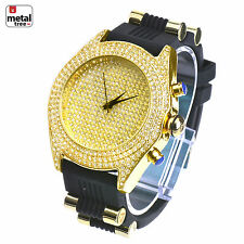 Men's Hip Hop Iced Out Gold Plated Silicone Band Techno Pave Watches WR 7720 G