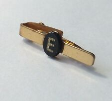 VINTAGE TIE CLIP Gold Tone with Black Glass and E in Clear Crystals FREE P&P