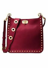 NWT MICHAEL KORS Studded Leather Saffiano Bag Cherry Burgundy Handbag Purse $368