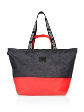 NEW WITH TAGS VICTORIA'S SECRET PINK ZIP TOP TOTE BAG GRAY MARL/CORAL NEW!