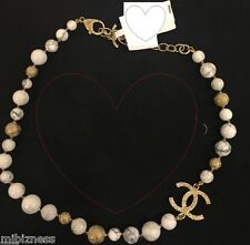 CHANEL 2016 MARBLE STONE GOLD CC BEAD NECKLACE NEW IN BOX AUTHENTIC