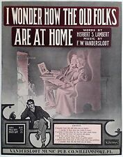 """SHEET MUSIC STORE POSTER """"I WONDER HOW THE OLD FOLKS ARE"""" ADVERTISING LARGE"""