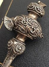 RARE ANTIQUE GENUINE VICTORIAN SOLID SILVER RATTLE WHISTLE BY S&Co 1886. UNUSUAL
